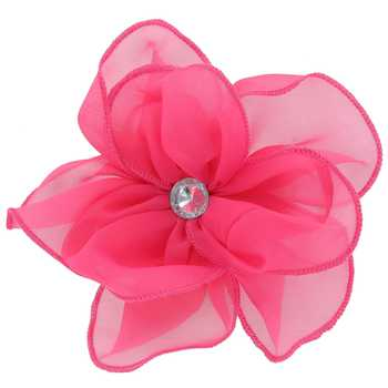 Hot Pink Large Sheer Flower Clip With Rhinestone